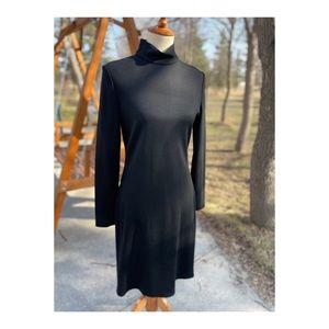 St John Black Knit Dress Long Sleeve Midi